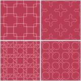 Geometric patterns. Set of pale red seamless backgrounds. Vector illustration Royalty Free Stock Photos