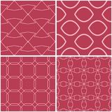 Geometric patterns. Set of pale red seamless backgrounds. Vector illustration Stock Photo