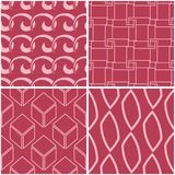 Geometric patterns. Set of pale red seamless backgrounds. Vector illustration Stock Image