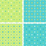 Geometric patterns set. A set of seamless geometrical decorative floral and polka dots pattern. EPS8 vector Stock Photos
