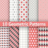Geometric patterns (tiling). Set of vector. 10 Geometric patterns (tiling). Retro orange, pink and blue colors. Endless texture can be used for printing onto Stock Images