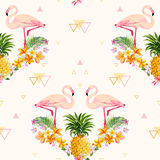 Geometric Pineapple and Flamingo Background. Seamless Pattern in vector Royalty Free Stock Photo