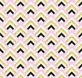 Geometric pink black and gold glittering seamless pattern on white background. Stock Photo