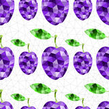 Geometric plum pattern. Abstract geometric violet plum, Polygonal triangle fruit. Seamless texture background Stock Illustration