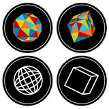 Geometric Polygon Icon Set royalty free illustration