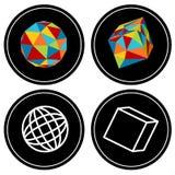 Geometric Polygon Icon Set Stock Photography