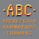 Geometric polygonal alphabet. Colorful letters sign. Pop font, vibrant typography. ABC symbols concept. Vector illustration isolated on grey background Royalty Free Stock Images