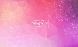 Geometric Polygonal background molecule and communication. Connected lines with dots. Minimalism chaotic illustration background. Concept of the science Royalty Free Stock Photography