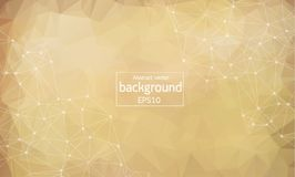 Geometric Polygonal background molecule and communication. Connected lines with dots. Minimalism chaotic illustration background. Concept of the science Royalty Free Stock Images