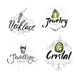 Geometric polygonal crystals. Jewelry label with watercolor elements. Geometric polygonal crystals hand drawn isolated on white background. Geometric shapes vector illustration