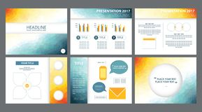 3d yellow, white, blue powerpoint presentation templates vectors. royalty free illustration