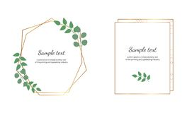 Geometric polygonal frames with golden lines and leaves eucalyptus. Botanical design templates for wedding, invitation, save the d royalty free illustration