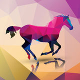 Geometric polygonal horse, pattern design Stock Photos
