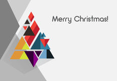 Geometric polygonal modern flat retro vintage minimalistic vector christmas card. Design for art projects with geometric christmas tree for flyer, book cover Stock Photo