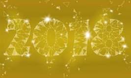 Geometric polygonal 2018 New Year Greeting card. Low poly triangle future technology yellow golden metalic background Stock Photo