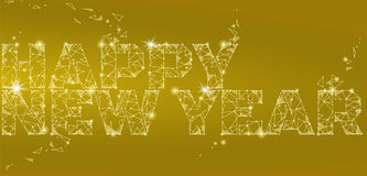 Geometric polygonal 2018 New Year Greeting card. Low poly triangle future technology yellow golden metalic background Royalty Free Stock Images