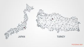 Vector. A polygonal map of countries. Japan. Turkey. Abstract 3d background. Points and lines are connected in triangles. royalty free illustration