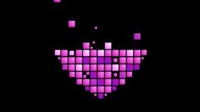 Geometric purple heart symbol animated background stock video footage