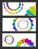 Geometric rainbow   flowers  card Royalty Free Stock Photography