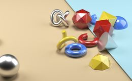 Geometric Realistic Looking Primitive Objects. 3D Rendering Of Different Type Of Geometric Realistic Looking Primitive Objects Stock Image