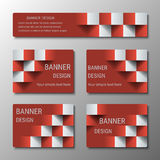 Geometric rectangular banners of the same width with the 3D effect for business website. Three template for the header of the site and advertising banners vector illustration