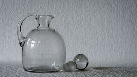 A geometric, rectangular patterned clear glass vase. Stock Photo
