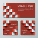 Geometric rectangular and square banners with the 3D effect for business website. Three template for the header of the site and advertising banners vector illustration