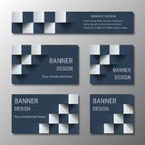 Geometric rectangular and square horizontal banners with the 3D effect for business website. Five template for the header of the site and advertising banners stock illustration