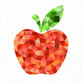 Geometric red apple. Abstract geometric red apple with triangled background pattern Stock Photo