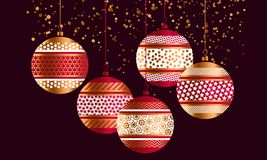 Geometric red and gold xmas baubles. Christmas decor element for header, card, invitation, poster, cover and other web and print design projects. stock vector stock illustration