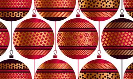 Geometric red and gold xmas baubles seamless pattern. Christmas decor element for background, wrapping paper, fabric. Endless repeatable motif for surface royalty free illustration