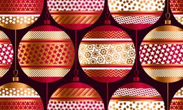 Geometric red and gold xmas baubles seamless pattern. Christmas decor element for background, wrapping paper, fabric. Endless repeatable motif for surface vector illustration