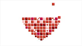Geometric red heart symbol on white. Video animation 1920x1080 stock footage
