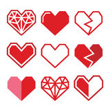 Geometric red heart for Valentine's Day icons Stock Photography