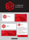 Geometric red logo icon design with business cards. Banners and  documentation for business. Vector illustration Stock Images