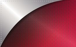 Geometric red mesh background with a frame of light metallic hue. Geometric red mesh background with a frame of light metallic hue with rivets Stock Image