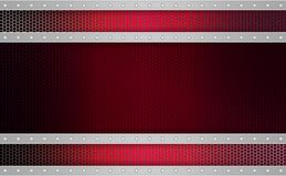 Geometric red mesh background with stripes of light metallic hue, frame. Geometric abstract red mesh background with stripes of light metallic hue with rivets Royalty Free Stock Photography