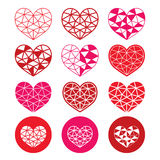 Geometric red and pink heart for Valentine's Day icons - love, relationship concept. Vector icons set of cubic heart shapes  on white Stock Image