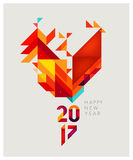 Geometric red rooster. Minimalistic Vector abstract illustration. Red Rooster of geometric shapes. Chinese New Year 2017. To design a calendar, postcards, flyers Royalty Free Stock Photography
