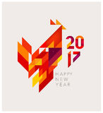 Geometric red rooster. Minimalistic Vector abstract illustration. Red Rooster of geometric shapes. Chinese New Year 2017. To design a calendar, postcards, flyers Stock Photos