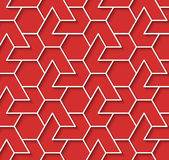 Geometric red and white background with outline extrude effect. Volumetric geometric red and white background with outline extrude effect. Based on islamic royalty free illustration