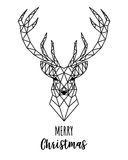 Geometric Reindeer Christmas card, vector. Christmas card with geometric reindeer head, vector illustration Royalty Free Stock Photography