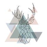Geometric reindeer illustration. Stock Photo