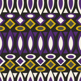 Geometric retro abstract seamless pattern on black Royalty Free Stock Images