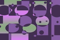 Geometric Retro Mod. Geometric Purple, Pink, Green, Pattern with circles, rectangles, and dots Royalty Free Stock Photos