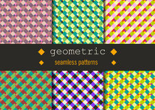Geometric rhombus patterns set. Seamless vector summer texture set. Geometric rhombus patterns set for your design project.n Royalty Free Stock Photography