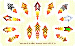 Geometric rockets, fire arrows set. Kit fire arrow direction symbol.  eps10.  Royalty Free Stock Photos