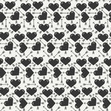 Geometric romantic line seamless pattern with hearts. Wrapping paper. Scrapbook paper. Tiling. Vector illustration Stock Photo