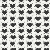 Geometric romantic line seamless pattern with hearts. Wrapping paper. Scrapbook paper. Tiling. Vector illustration Stock Photography