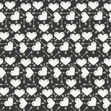 Geometric romantic line seamless pattern with hearts. Wrapping paper. Scrapbook paper. Tiling. Vector illustration Royalty Free Stock Images